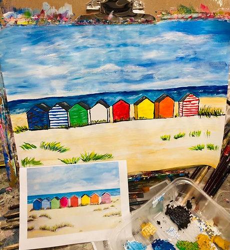Paint and Sip at Home 'Beach Huts'