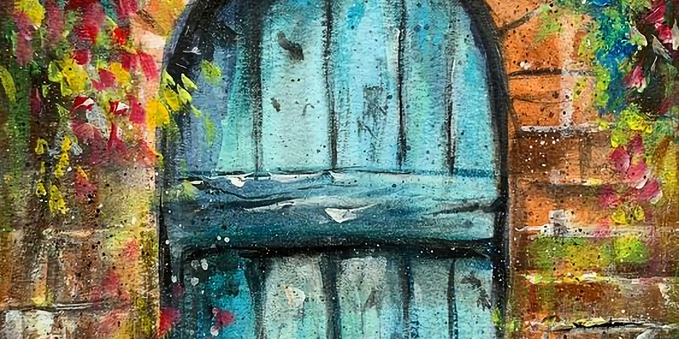 ZOOM RECORDING Paint and Sip at Home  'Blue Door'