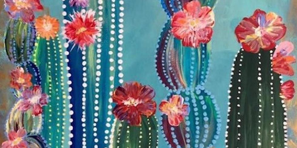 Paint and Sip at Home Art Webinar 'Cacti