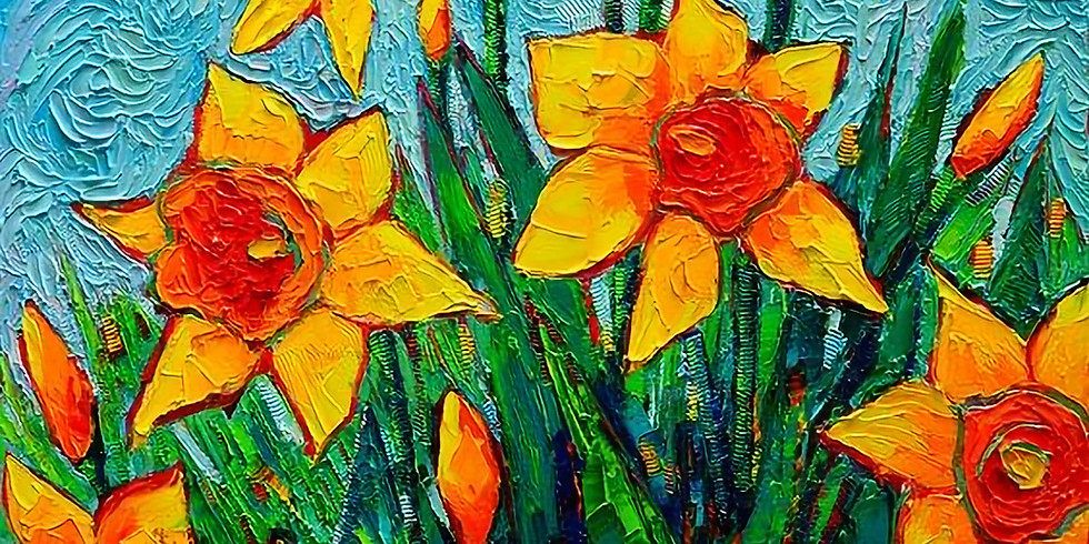 Live Paint and Sip at Home 'Daffodils'
