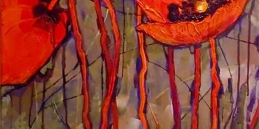 Paint and Sip at Home Art Webinar 'Poppies'