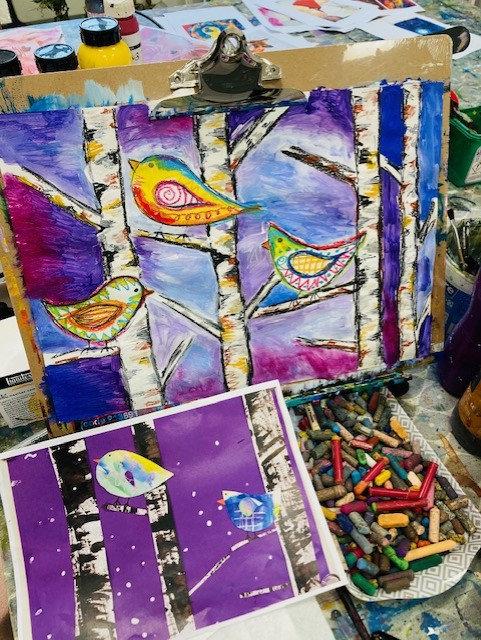 Children's Art Webinar 'Birds on Winter Birch'