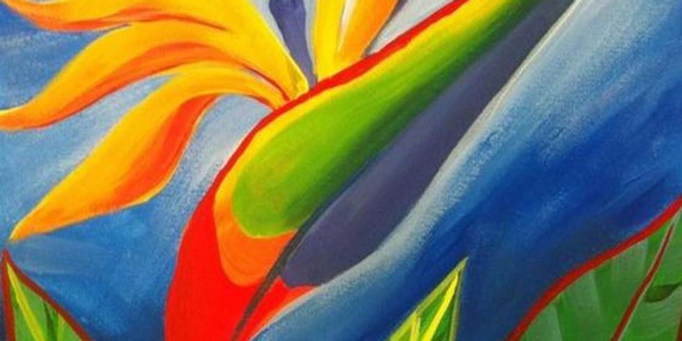 Paint an Sip at Home Art Webinar 'Birds of Paradise'