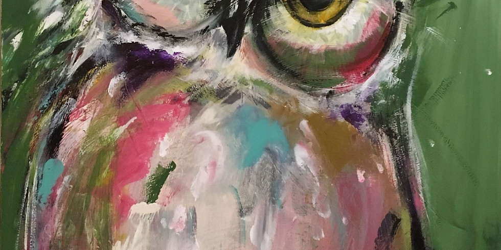 ZOOM RECORDING Paint and Sip at Home Art Webinar 'Owl'