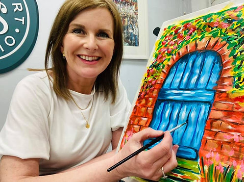Paint and Sip at Home 'Blue Door'