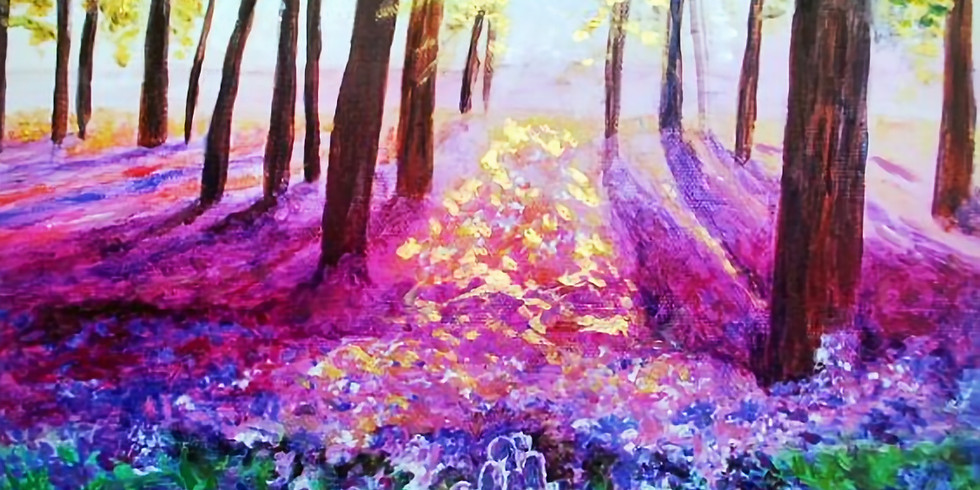 ZOOM RECORDING Paint and Sip at Home 'Bluebells'