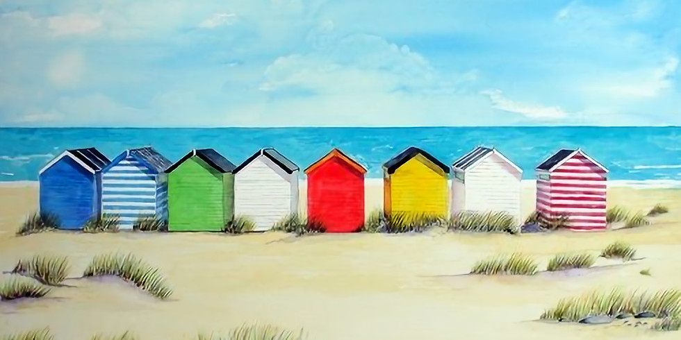 ZOOM RECORDING Paint and Sip at Home 'Beach Huts'  (