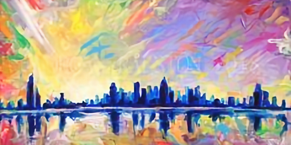 Paint and Sip at Home Art Webinar 'Urban Skyline'