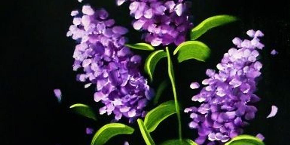 Paint and Sip at Home Art Webinar 'Lilac'