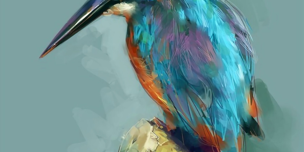 ZOOM RECORDING Paint and Sip at Home Art Webinar 'Kingfisher'