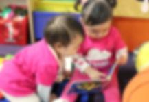 Girls at international preschool, Sunshine Kids Academy in Shintomicho,Tsukiji,Ginza, Tokyo