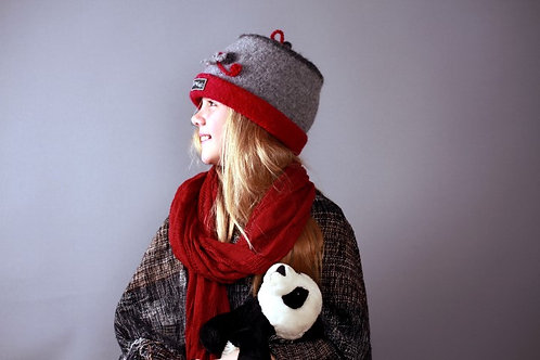 Grey with red rose pattern hat