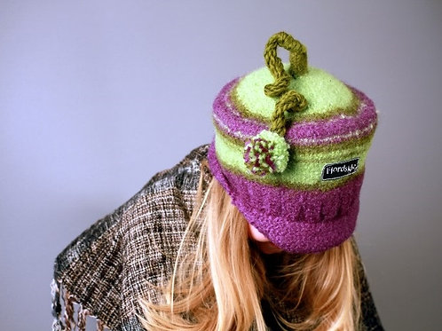 Green hat with funny tassel and shadow brim