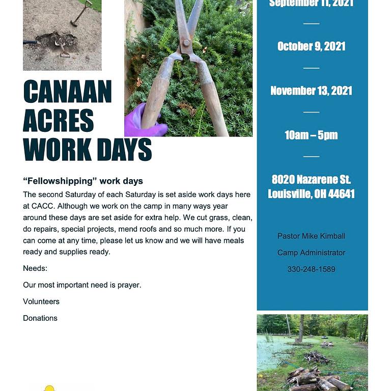 Canaan Acres Work Days