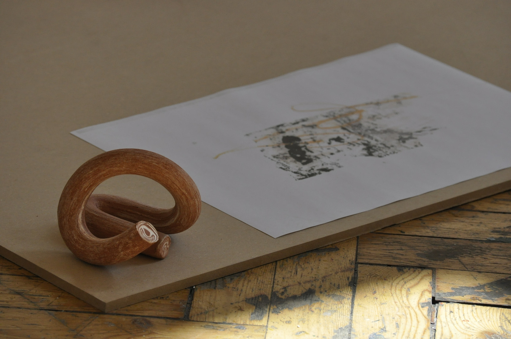Ceramic and paper on MDF