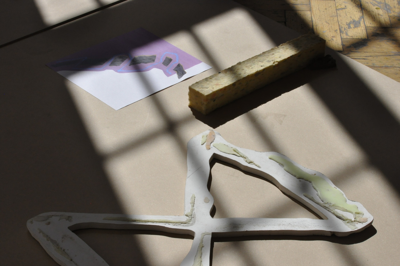 Plasterboard, wax, recycled foam, paper, MDF