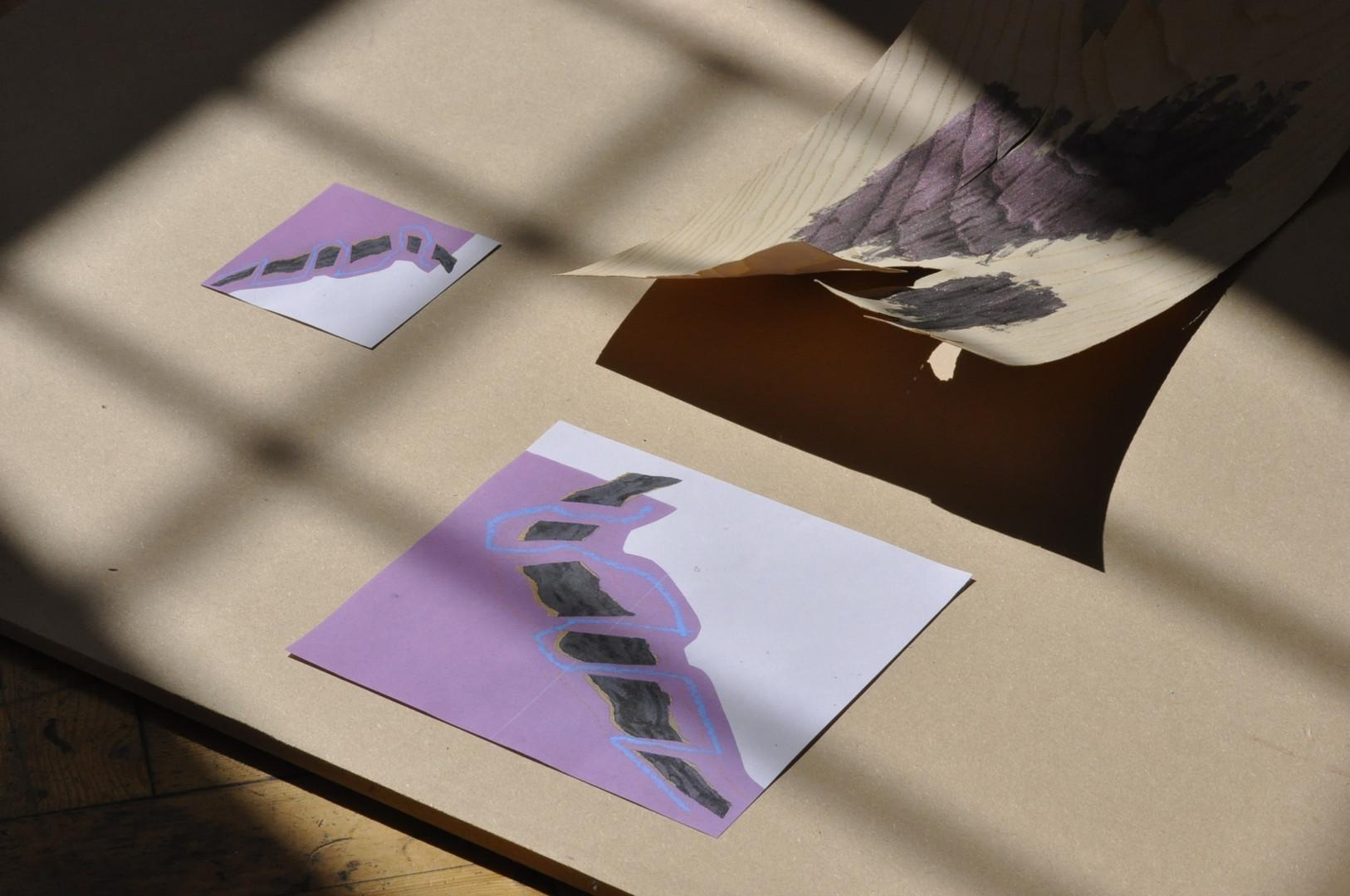 Paper, nail varnish, wood