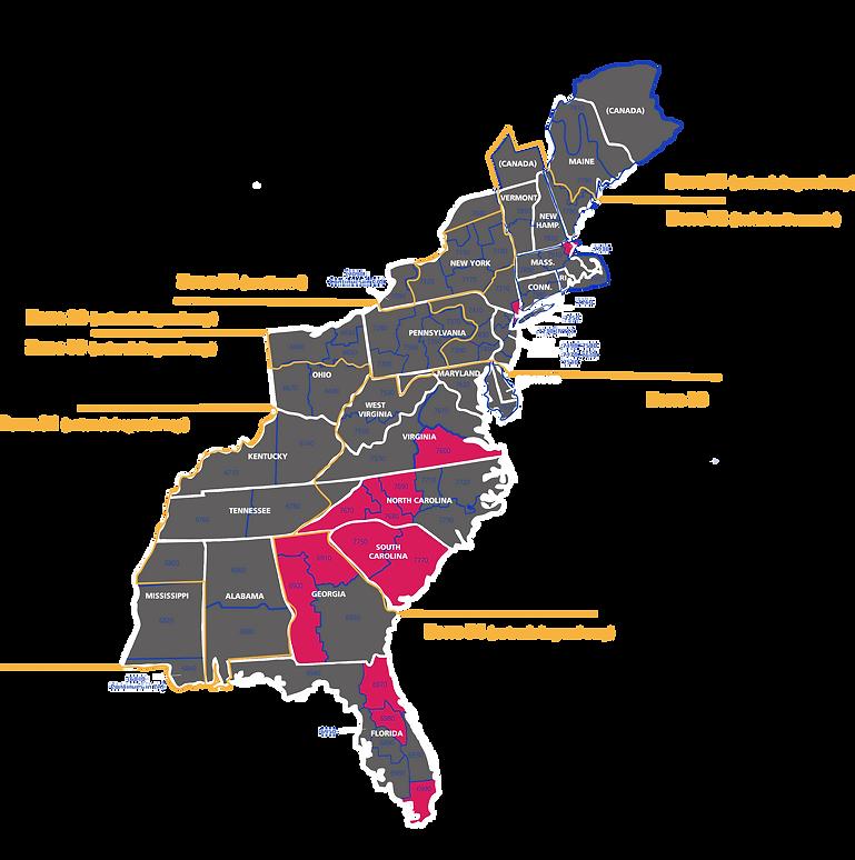 Rotaract Atlantic Network An MDIO For The East Coast - East coast usa map
