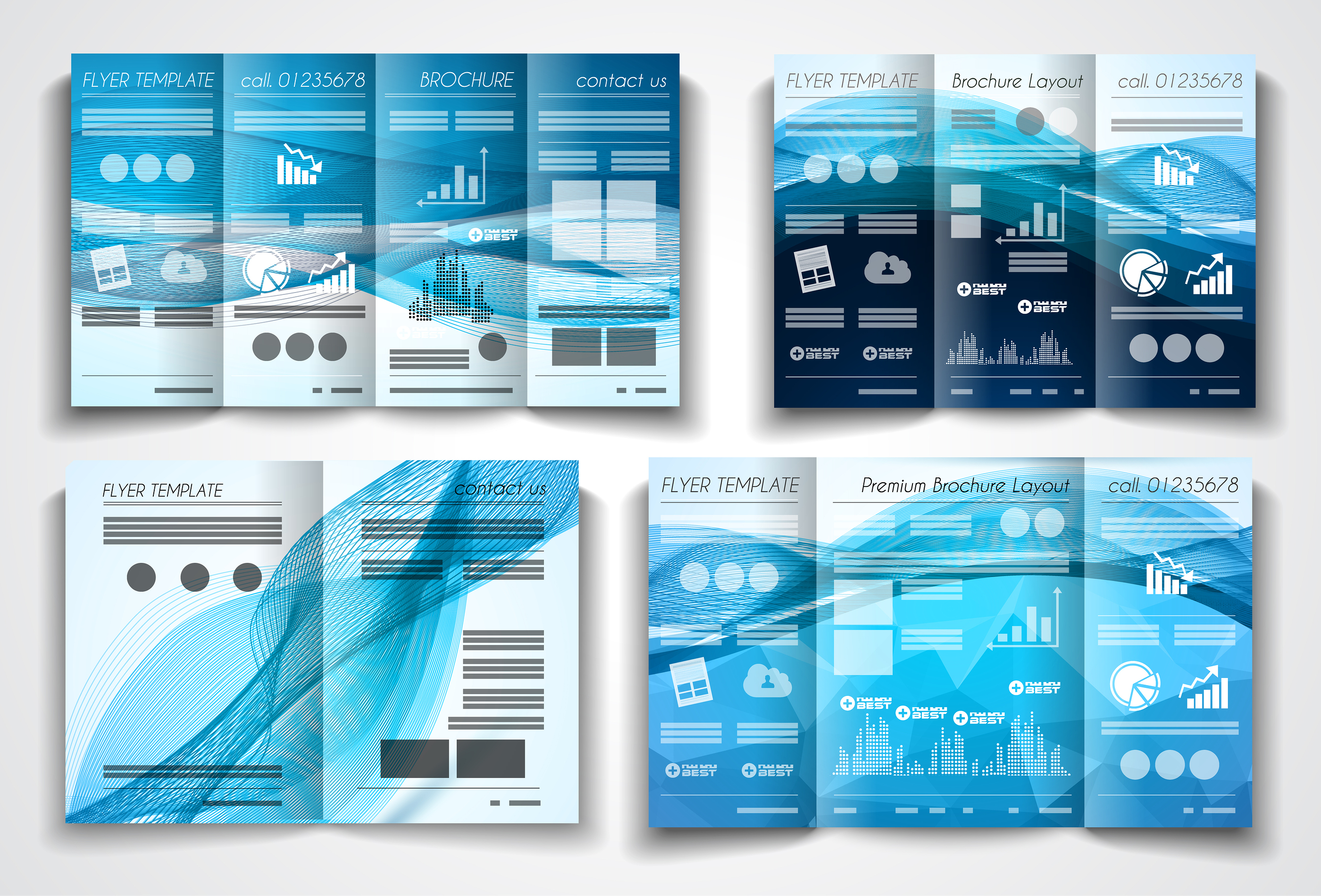 Vector tri fold brochure template design or flyer layout to use for business applications, magazines