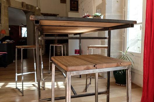 création mobilier table assises tabouret bois et acier collectif vous