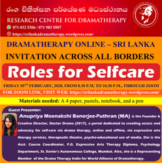 SRI LANKA: Online Dramatherapy Session for International Community, Roles for Selfcare