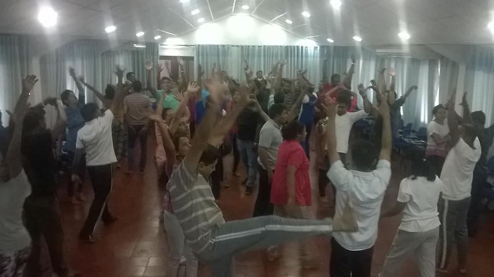 Movement exercise in dramatherapy workshop, Sri Lanka