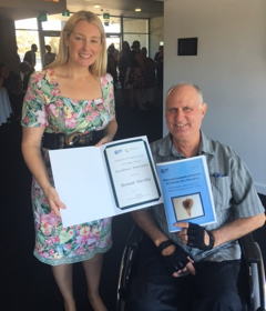 Dramatherapist Rénald Navilly receives Award from Australian Capital government.