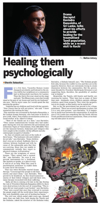 Sri Lanka: Article from the Indian Express about drama therapy treatment of war trauma