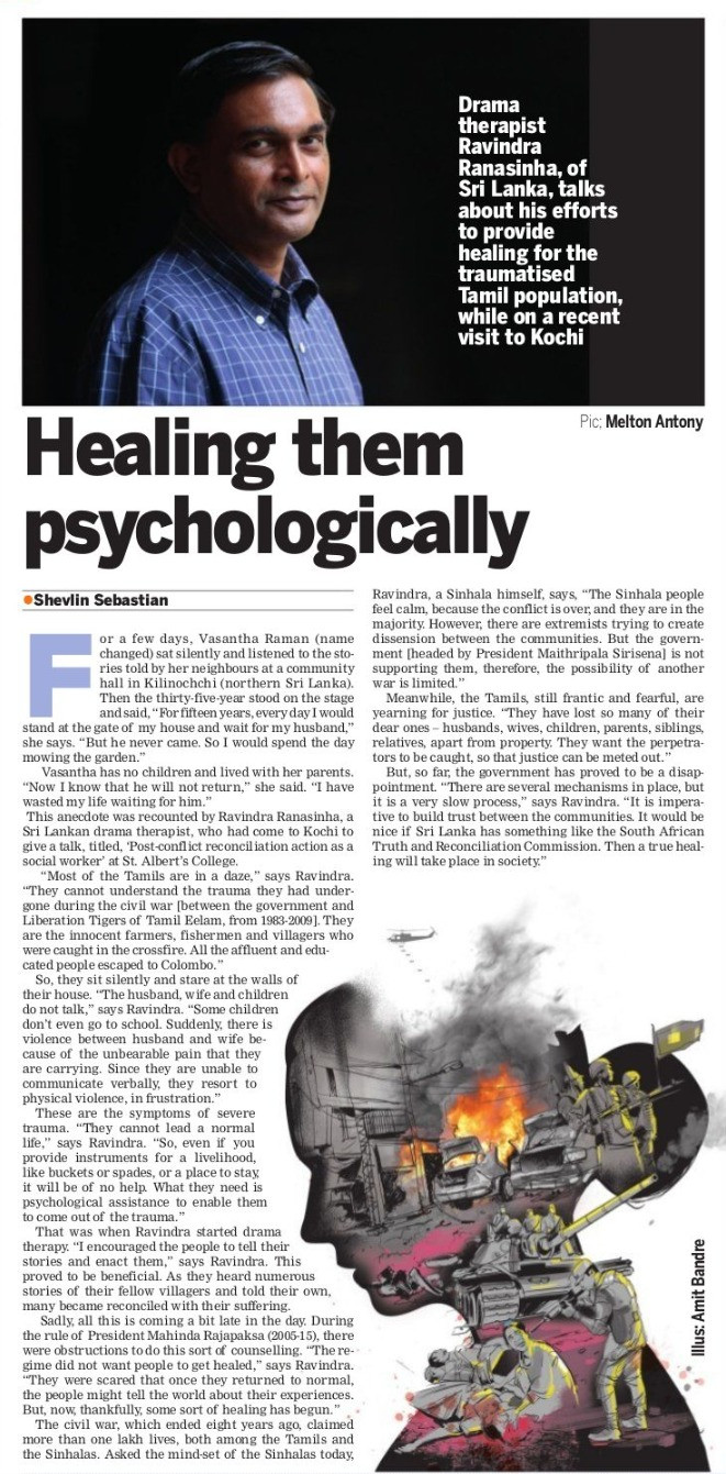 Article from the Indian Express about drama therapy and trauma.