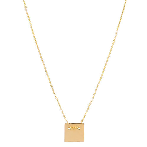 Square necklace S gold plated 925 silver - Collier S Square argent doré