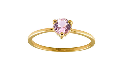 Pink sapphire large Solitaire 18k gold ring