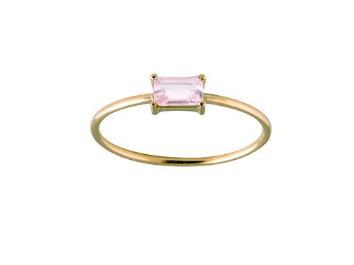 Baguette pink tourmaline ring L 18k gold