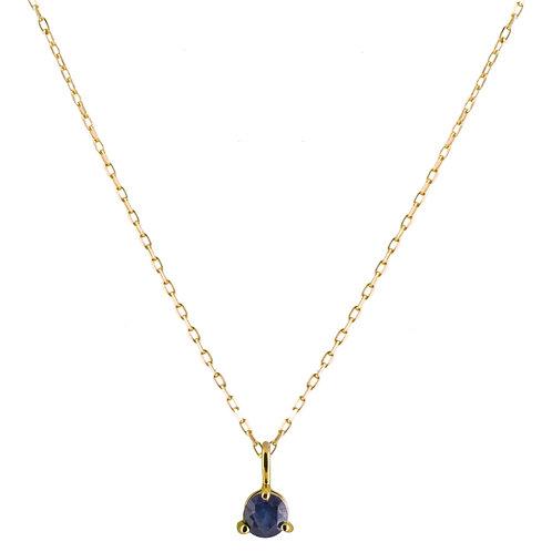 Blue sapphire Solitaire necklace 18k gold