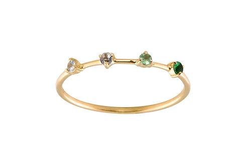 Sapphires & tsavorites Gradient 18k gold ring