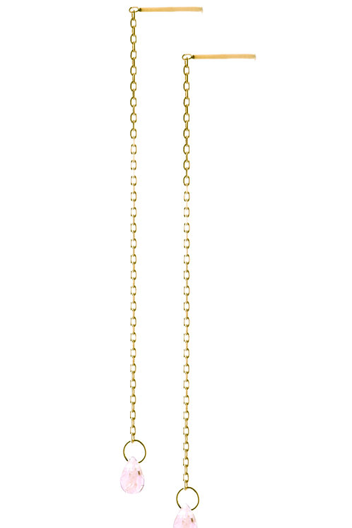 Briolette pink sapphires long earrings 18k gold