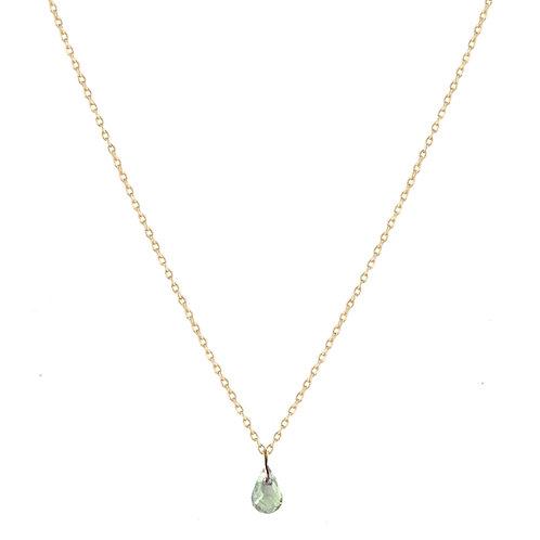 Briolette green sapphire necklace 18kt gold