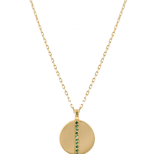 Tsavorites Medaille 18k gold necklace