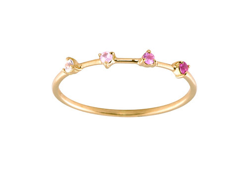 Pink sapphires Gradient 18k gold ring