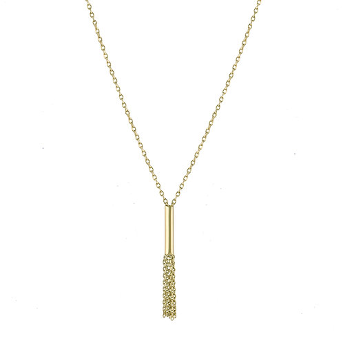 Tube long necklace 18k gold