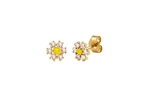 Baby Daisy  18k gold earrings