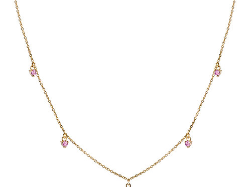 Five pink sapphires necklace 18k gold