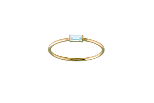 Baguette blue topaz ring S gold plated 925 silver