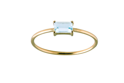 Baguette aquamarine ring L 18k gold