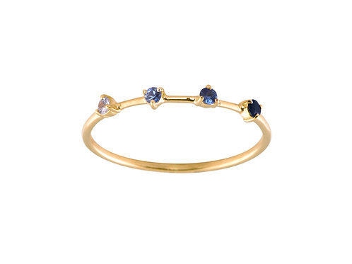 Blue Sapphires Gradient 18K gold ring
