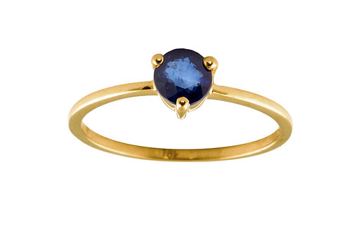 Blue sapphire large Solitaire 18k gold ring