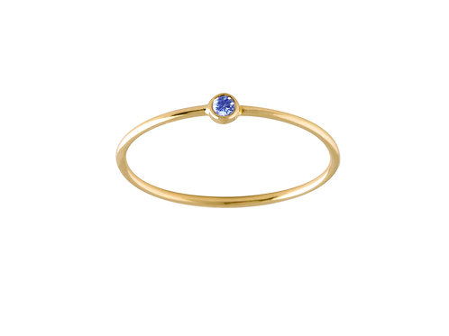 Solitaire blue sapphire ring 18k gold
