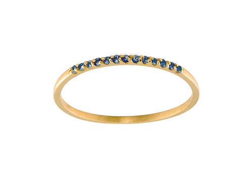 Blue sapphires Pavé 18k gold ring