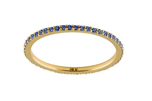 Blue sapphires Eternity 18k gold ring