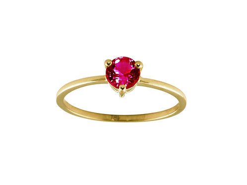 Ruby large Solitaire 18k gold ring