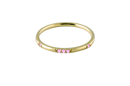 Stardust pink sapphires ring 2 gold plated 925 silver